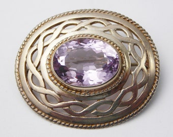 Vintage C1990s Scottish Ortak Malcolm Gray Sterling Silver & Amethyst Brooch