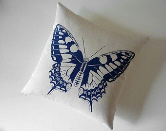 Vintage butterfly silk screened cotton canvas throw pillow 18 inch navy