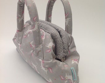 Girl's Mary Poppins Style Bag Handmade in Grey Unicorns Fabric