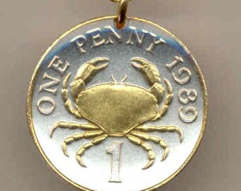 "Guernsey  ""Crab"",  Coin Necklace, Gorgeous 2-Toned ""Gold on Silver"""