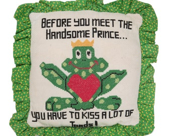 Frog Prince Decorative Needlepoint Pillow
