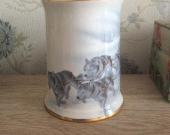Renaissance Fine Bone China Huskies Jug/Canadian Bone China/Husky Jug/Husky lover gift/Vintage Husky jug/Canadian Jugs/White and blue jug