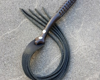 """BDSM Toy French Martinet """"The Fork"""" Leather whip flogger with Antique Cast Iron Handle"""