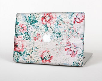 The Coral & Blue Grunge Watercolor Floral Skin for the Apple MacBook Air - Pro or Pro with Retina Display (Choose Version)