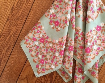 Italian Made Mint and Pink Floral 1970's Fashion Scarf