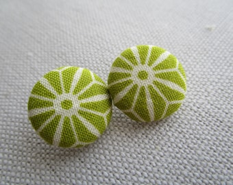 Lime Geometric Shank Button 19mm