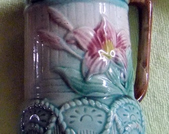 Vintage Majolica Antique Majolica Pitcher Vintage Majolica - Floral and Rope Majolica Pitcher
