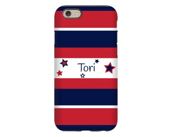 Personalized iPhone 7/7 Plus case, red, white and blue iPhone 8 case, iPhone 8 Plus case, iPhone X case, iPhone 6s/6/6s Plus/6 Plus case