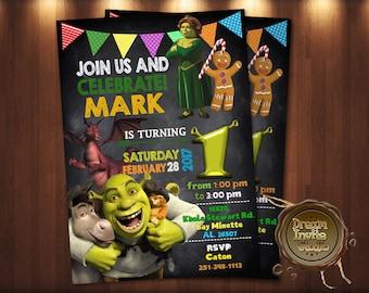 Shrek, Shrek party, Shrek birthday invitation, Shrek invitation, Shrek invites, Shrek and fiona, Fiona invitation