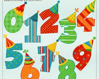 Birthday Boy Numbers Cute Digital Clipart for Card Design, Scrapbooking, and Web Design