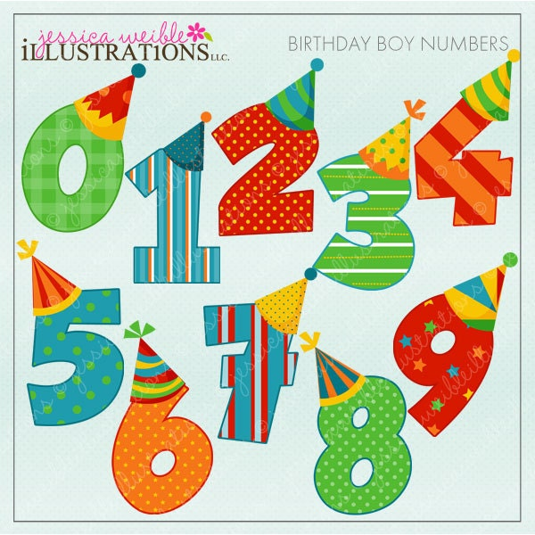 Boy numbers cute digital clipart for card design zoom bookmarktalkfo Image collections