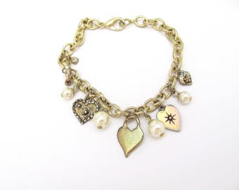 Vintage Charm Bracelet Mixed Heart Charms Gold-tone Gift for Girl Woman Teen Tween