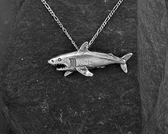 Sterling Silver Great White Shark Pendant on a Sterling Silver Chain.