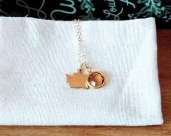 Tiny Washington Birthstone Necklace
