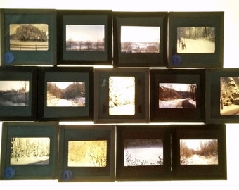 Snowy Weather Scenery, Snow Images, Vintage Glass Photographic Slides, Winter Themes, colour images for crafts, Glass Vintage slides (13)
