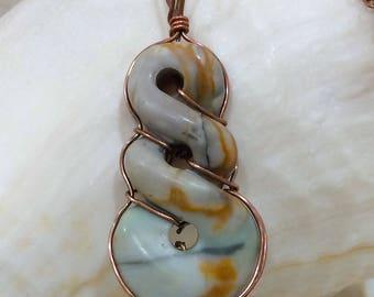Picasso jasper copper wire wrap pendant