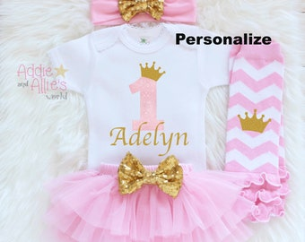 First Princess Birthday Outfit Girl, 1st Birthday Girl Outfit, First Birthday Girl, 1st Birthday Outfit, First Birthday Tutu Headband, B6P