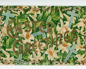 Vintage postcard - Easter postcard, vintage postcard, antique postcard, Easter Card pattern of pretty Easter lilies and crosses