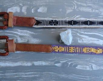 SALE Guatemalan Leather Belts Embroidered Vintage S M L