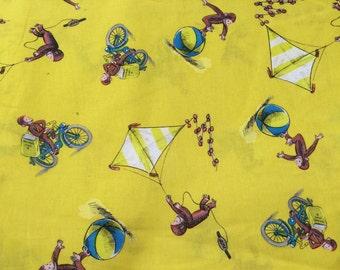 Curious George fabric, monkey fabric, book fabric, yellow fabric, kids fabric, cartoon fabric, cotton fabric