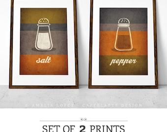 Set of 2 PRINTS. Kitchen print Kitchen wall art Kitchen art kitchen poster Kitchen decor Mother's day gift Mother's day print Salt Pepper UK