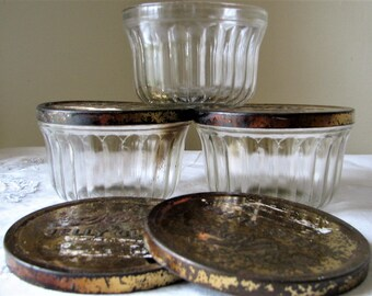 3 Vintage Half Jelly Jars ~ Lids ~ Kerr ~ Grapes