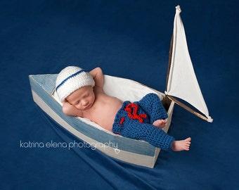 Newborn Sailor Photo Prop/ Nautical Newborn Prop/Sailor Hat and Pants Set/Military Newborn Prop/ Ocean Theme Newborn Prop/ Baby Boy Prop
