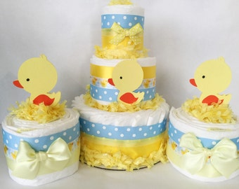 SET OF 3 Rubber Duck Diaper Cakes, Rubber Duck Baby Shower Centerpiece, Rubber Duck Decorations in blue and yellow