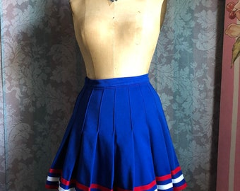 Sz S-M 70s Cheerleader Fourth of July Independence Day Festive Sports Mini Skirt Blue Red White Stripes Skater