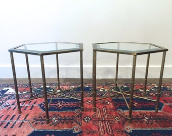 One Available Mid Century Mastercraft Brass and Glass Hexagonal Side Table End Table | Hollywood Regency Chinoiserie | Faux Bamboo Coffee