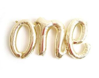 ONE light gold script balloon, 1st birthday party decor & photo prop