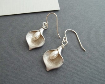 Calla Lily Earrings, White Gold , Pearl Earrings, Calla Lily Jewelry