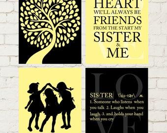 Sisters wall art, three sisters, girls playroom decor, girls shared bedroom wall art, girls wall art, siblings art, set of 4 prints