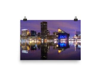 Baltimore City Inner Harbor Skyline at Night Poster
