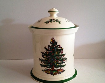 Spode Christmas Tree Cookie Jar With Seal Lid   Made In England; New Vintage