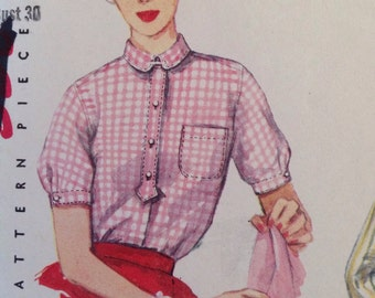 1950s Misses' Simplicity 4813 Blouse with fitted waist and pointed collar - size 12