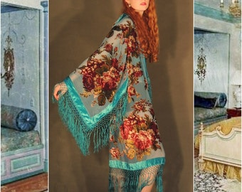 Special order layby SILK long Lrg KIMONO Turquoise burnout velvet robe duster coat devore Floral deco nouveau Hippie Mucha boho Stevie nicks