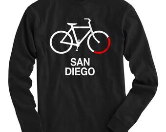 LS Bike San Diego Tee - Long Sleeve T-shirt - Men S M L XL 2x 3x 4x - Bicycle Shirt, Cycling Shirt, San Diego Shirt, Bike Shirt Bicycle Sign