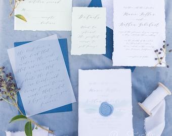 Calligraphy Script Wedding Invitations, Custom Wedding Crest, Southern Wedding Invitation Set, Natural, Rural, Torn Edges | Madison Script