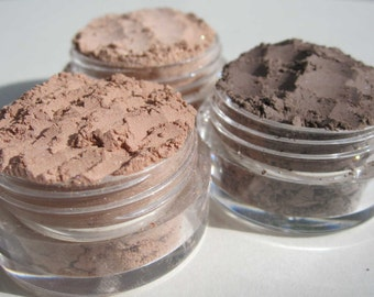 Semi-Matte Brown Vegan Mineral Eye Shadows | Eco Friendly Earth Tones Gift Set | Loose Pigments Cruelty-Free | Makeup Gift |  Set of three