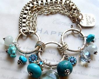 turquoise bracelet, vintage bracelet, aquamarine bracelet, southwestern bracelet, boho chic bracelet, blue bracelet, for her, sea