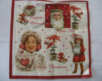 set of 2 merry christmas paper napkins