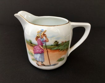 "Darling Antique Bavarian Porcelain Creamer-""Little Bo Peep Has Lost Her Sheep"""