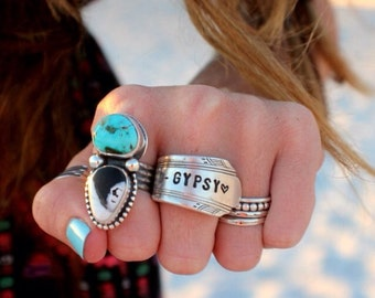 This will not arrive by christmas STAMPED SPOON RINg Made to Order - You choose Design - Handstamped Upcycled Spoon - gypsy spoon ring
