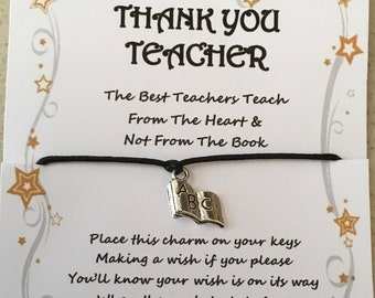 Thank you, leaving, Teacher, card, wish, key, charm, gift, teach from the heart, quote, various charms and colours