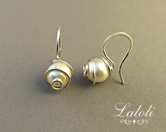 White pearl earrings handcrafted, art jewelry earrings, classic earrings, goldsmiths jewelry earrings, Silver stylish earrings, Fun jewelry