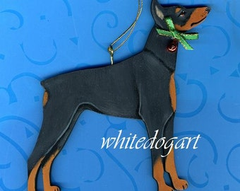 Handpainted Doberman Pinscher Christmas Ornament