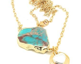 Jasper Blue Ocean Pendant Necklace / Gold Edged Stone on Gold fill Chain / Druzy Genuine Simple Gemstone Necklace Ocean Rock Pools Necklace