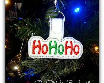 HoHoHo ITH Snap Tab - 4x4 Embroidery Design - INSTANT DOWNLOAD