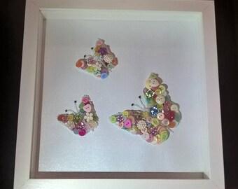 Girls Wall Art, Butterflies, Butterflies Button Art. Butterflies Wall Decor, Pastel Butterflies